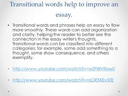 transitions go the flow ppt  2 transitional words help to improve an essay