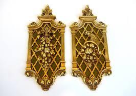 Mid Century Wall Decor Pair Vintage Gold Ornate Wall Hangings Mid Century Wall Decor