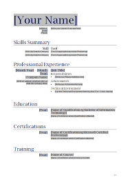 Ms Word Format Resume Sample