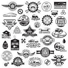 さまざまな車アイコンの白黒イラストのイラスト素材ベクタ Image