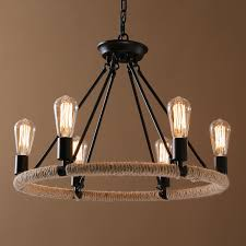 lighting ceiling lights chandeliers american country nordic style iron rope paint light black chandelier without lamp shade edison bulb adjule