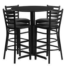 set of 4 bar stools. 30\u0027\u0027 Round Black Laminate Table Set . Of 4 Bar Stools C
