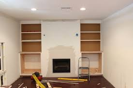 Built In Drywall Shelves Built In Fireplace And Cabinets Tutorial Dream Book Design