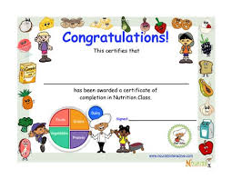 Certificate Of Completion In Nutrition Education Class For Kids