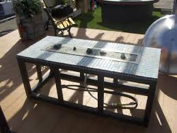image of outdoor gas fire pit table black