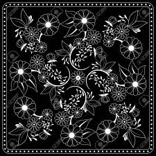 Black And White Bandana Print With Floral Pattern Square Pattern