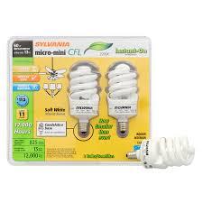 sylvania 2 pack 60 w equivalent soft white a19 cfl light fixture light bulbs