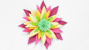 Dahlia Flower Making With Paper Dahlia Paper Flower Diy Making Tutorial Paper Flowers Decorations Easy For Children For Kids