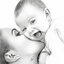 digital painting of mother and baby by laziee2ann