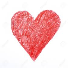 C Ur Coeur Rouge Soupir Dessin Au Crayon Enfantin Rugueux Amour