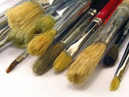 pincel con pintura. pinceles pincel con pintura