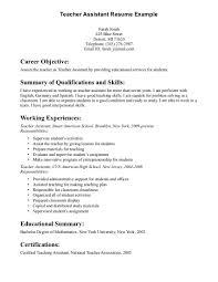 Resume For Assistant Teacher Best Letter Sample