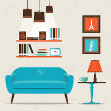 flat furniture. Living Room With Furniture Flat Style Vector Illustration. Stock - 53612510 U