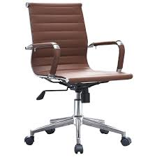 2xhome brown modern ergonomic mid back pu leather executive office chair ribbed swivel tilt conference