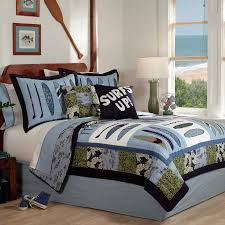 image of boy style nautical king quilt set