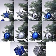 Proheim Christbaumschmuck In Blausilber Weihnachtskugeln Glänzend Und Matt Baumschmuck Weihnachten Deko Anhänger Diverse Sets Wählbar Set