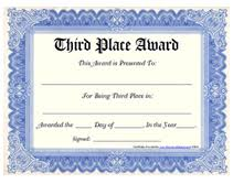 award certificates template free printable 3rd third place award certificate templates