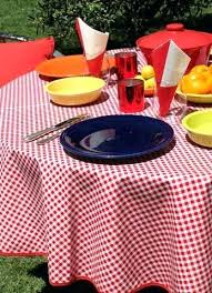 outdoor table cloth round red gingham oilcloth tablecloth clips with umbrella hole weights