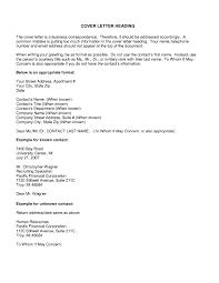 Cv Cover Letter Heading Proper Cover Letter Heading Image