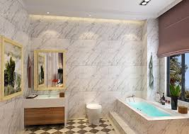 great white bathroom designs with marble wall and stylish track lighting using brown window shade
