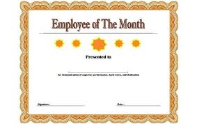 Employee Of The Month Certificate Templates Certificates Officeemployee Month Certificate Template Word