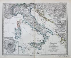 Charts Italien Italien Italy 1881 By Stieler 140 Antique Maps And