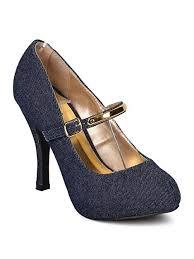 Qupid Women Denim Almond Toe Platform Metallic Mary Jane Stiletto Pump Gd66