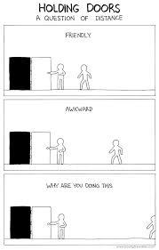 door holding etiquette how far is too far