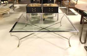 large glass coffee table oversized square chrome and brass hoof mid century modern coffee table at large square glass top coffee table