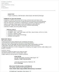 Project Coordinator Resume Resume Letter Collection