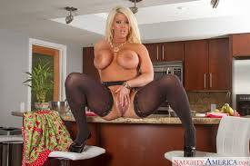 Alura Jenson in long black stocking strips in kitchen 12 Beauty.