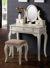 bedroom makeup vanity set with traditional design vanity table mirror and stool in white finish