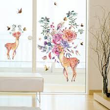 hand painted sika deer wall sticker modern living room 1