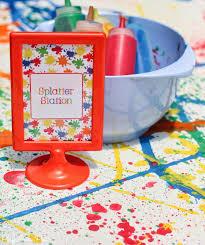 splatter paint and splash party with juicy juice splatter station