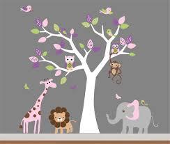 ... Styling Tree Wall Art Stickers Childrens Rooms White Purple Birds Pink  Elephant Giraffe Lion Grey Wallpaper