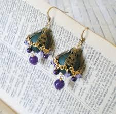 moroccan beaded chandelier earrings jewel tones green purple bronze images of
