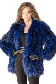 30 adrienne landau knit blue dyed silver fox collarless jacket size 6 8
