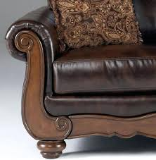 couch with wood trim etrevusurleweb wood trim leather loveseat