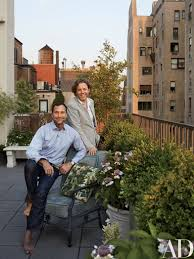 HBO Executive James Costos (left) And Designer Michael S. Smith On The  Terrace