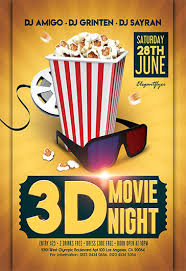 Free Movie Night Flyer Templates 3d Movie Night Flyer Psd Template