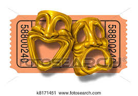 Clipart Of Movie Ticket Stub With Gold Comedy And Tragedy Masks