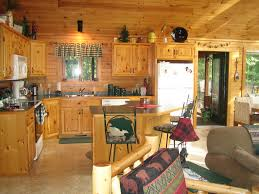 Cabin kitchen design Compact Small Rustic Cabin Kitchen Design With Shaped Kitchen Cabinet And Kitchen Island With Breakfast Bar Modrencom Kitchen Design Small Rustic Cabin Kitchen Design With Shaped