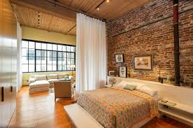 Room Divider Curtains Bedroom Industrial With Brick Wall  Built In Bed High Ceilings Loft