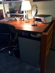 dorm desk set up mini refrigerator under you re going to want a
