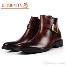grimentin high quality hot mens boots brand genuine leather formal business black brown men ankle boots for mens dress shoes fashion cowgirl