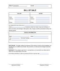 Connecticut Bill Of Sale