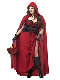 dark red riding hood plus womens and book week fancy dress costume with hooded cape