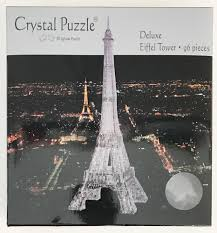 black eiffel tower 3d crystal jigsaw puzzle 96 pieces fun activity diy gift idea