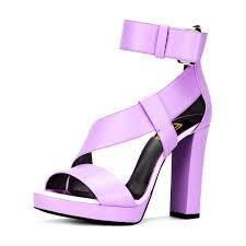 Light Purple High Heels Light Purple Block Heels Sandals Ankle Strap High Heels