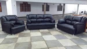 modern black leather sofa set at rs
